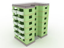 Green high-rise building without windows and doors  №2 Stock Photos