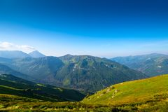 green high scenic mountain vista Poland stock images