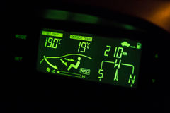 Green highlighted car air conditioner control panel Stock Image