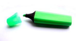Green Highlighter. On a white paper background Stock Image