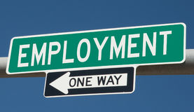 Green highway sign for EMPLOYMENT ONE WAY. Rendering of a green highway sign for EMPLOYMENT ONE WAY vector illustration