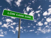 Low carb zone illustration. Green highway sign with white text graphics low carb zone against blue skies royalty free stock photos