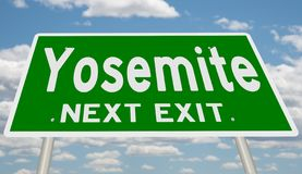 Green highway sign for Yosemite next exit stock illustration