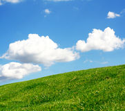 Green hill. Green grass on the hill a nice cloudscape  in the background Stock Photo