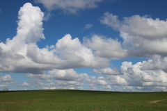 Green hill with big clouds Royalty Free Stock Photos