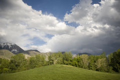 Green hill and blue skies. With the snow peaked mountians in the background Stock Image