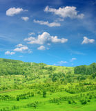 Green hill and blue sky Stock Image