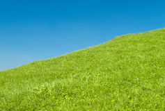 Green hill and blue sky Royalty Free Stock Photo