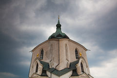 Green Hill church  before heavy storm, Czech Republic Stock Images
