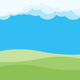 Green hill and clouds landscape. Vector illustration Royalty Free Stock Images