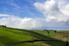 Green hill landscape scenery with breathtaking views over the horizon royalty free stock images