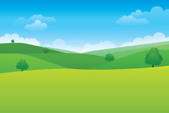 Green hill landscape. Vector illustration of panorama view with green mountain landscape and cloud sky stock illustration
