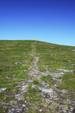 Green hill with path in the sky. Royalty Free Stock Image