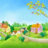 Green Hill Peaceful Village Digital Illustration. For any purpose such as cover book and illustration, wallpaper, home decor, print on calendar, canvas, pencil royalty free illustration