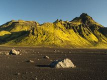Green hill. Green rocky hill on Laugavegur trek (Iceland Royalty Free Stock Image
