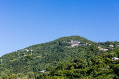 Green Hill on St Thomas with Cable Car Stock Photography