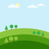 Green hill tree cloud and mountain landscape. Vector illustration Stock Photo