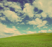 Green hill under cloudy sky - vintage retro style Stock Image