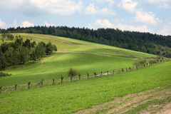 Green hills. Green meadows in Bieszczady Mountains,  Poland Stock Images