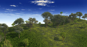 Green_Hills. Trees  on green hills - 3d scene Stock Photography
