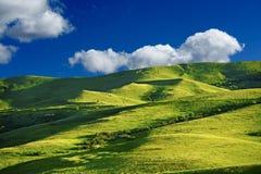 Green Hills. Landscape. Cloudy Blue Sky.  Montana Landscape, USA Stock Photo