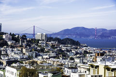 San Francisco, North Beach & Golden Gate Bridge  Royalty Free Stock Photography