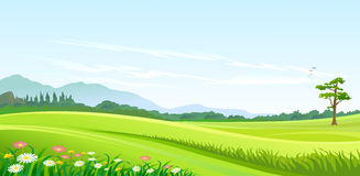 Green Hills , Blue Sky and Lonely Pathway royalty free stock photos