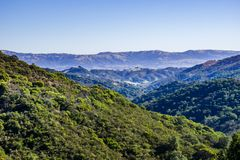 Green Hills in Calero County Park, Santa Cruz mountains, south San Francisco bay area, California royalty free stock image