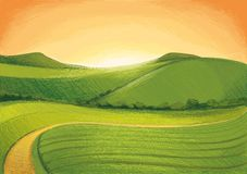 Green Hills. Digital drawn Landscape with green Hills Stock Photography
