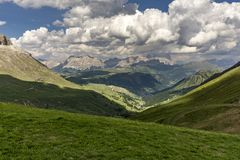 Green hills of the Dolomites in summer. Royalty Free Stock Photography