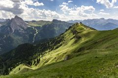 Green hills of the Dolomites in summer. Royalty Free Stock Image