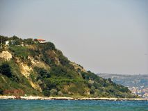 Green hills. Forest  green mountains,calm sea.Bulgaria,Albena Stock Photo