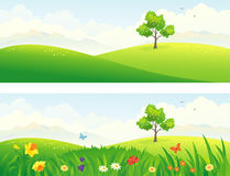 Green hills. Illustration of beautiful green and blooming hills Royalty Free Stock Photography