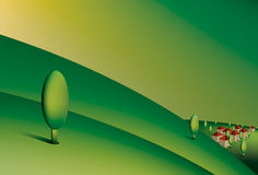 Green hills. Illustration of green rolling hills with village Royalty Free Stock Photography