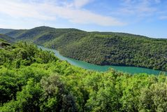 Green Hills and Jade Colored River in Istria Region of Croatia o. A river or fjord of turquoise water cuts through green hills north of Rovinj, near Pula Royalty Free Stock Photos