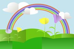 Green hills landscape, violet and yellow flowers, rainbow, blue sky, white clouds, flat design Stock Photo