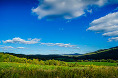 Rolling Catskill Hills. The green hills in the lower Catskill Mountain range in early fall stock image