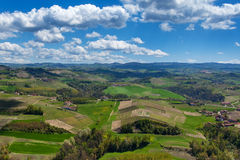 Green hills and meadows in Piedmont, Italy. Royalty Free Stock Images