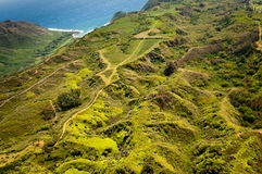 Green hills of Molokai island. Aerial view of green hills of Molokai island Stock Photos
