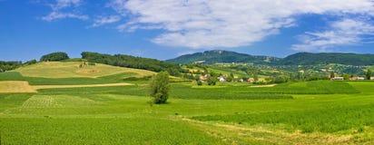 Green hills nature panoramic view Stock Image