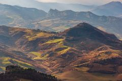 Green hills and open spaces in european mountains stock photo