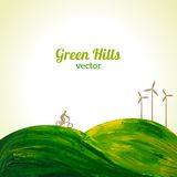 Green hills painted in oil. Vector illustration. Think Green. Ecology concept. Cyclist and wind turbines Royalty Free Stock Images