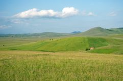 Green hills of the Pester Plateau Royalty Free Stock Photo