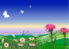 Green hills and pink flowers illustration Royalty Free Stock Photo