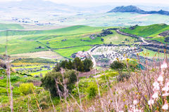 Green hills in rainy spring day in Sicily Stock Photo