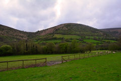 Green hills and a rural farm near Black Mountains, Brecon Beacons , Wales, UK Royalty Free Stock Photo