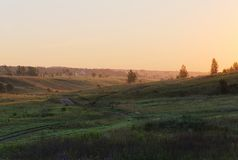 Green hills with small distant trees in early summer sunrise Royalty Free Stock Photography