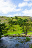 Green Hills, Stepping Stones near River Dove in Peak District Na Stock Images