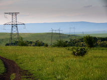 Green hills. Transmission line on the green hills Stock Image