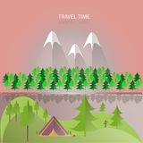 Green hills, trees and forest, violet mountains with white peaks, pink skies, river, tent, gray shade Royalty Free Stock Images